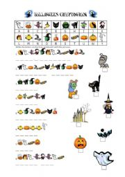 English Worksheets: Halloween Cryptogram