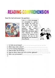English Worksheets: READING COMPREHENSION - about