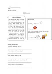 English Worksheets: reading com/ wh questions