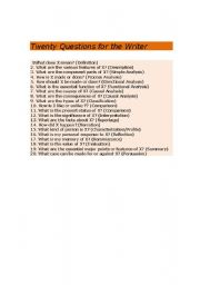 English Worksheets: Twenty Questions for the Writer