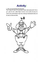 English Worksheets: The clown has got.... revision of colors, part of the body...