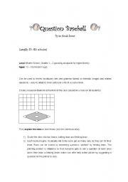 English Worksheet: Question Baseball