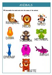 English Worksheet: Animals - unscramble the words