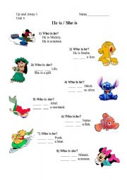 English Worksheets: He is  / She is with Disney