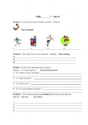 English Worksheets: I like worksheet