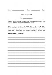 English Worksheets: Writing Assignments (They�ll want to do!)