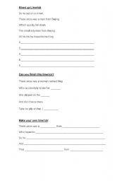 English Worksheet: Worksheet to accompany Limericks powerpoint