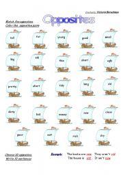 English Worksheet: Opposites Boats