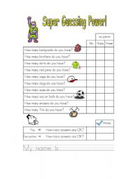 English Worksheets: How many...do you have? Super Guessing Power!