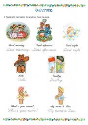 English Worksheets: GREETINGS (01-10-09)
