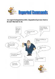 English Worksheet: Reported Commands - An Expert in Hypnotism