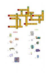 English Worksheet: crossword - around the house