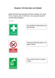 English Worksheets: Hazards - Recognising Warning Signs and Symbols