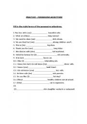 English teaching worksheets: Possessive adjectives