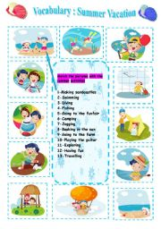 English Worksheet: Vocabulary  ;  My Summer Vacation