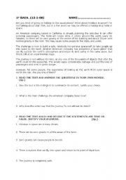 English Worksheets: TEXT AND REVISION EXERCISES 1� BACH