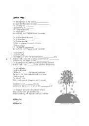 English Worksheet: Lemon Tree (song)