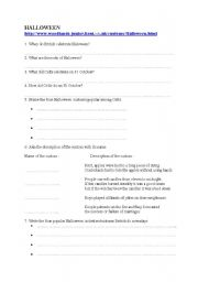 english worksheets webquest on halloween - Halloween Web Quest