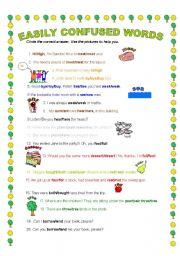 English Worksheet: Easily  Confused Words, part 1 (2 pages)