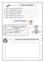 English Worksheets: Animals (Part  2 )