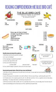 English Worksheets: THE BLUE BIRD CAF�