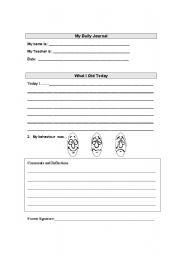 English worksheet: Journal page