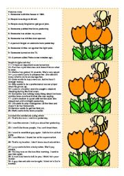 English Worksheet: Bee Cards (to be used with the Bee Boardgame) - 100 questions for advanced ss (fully editable)