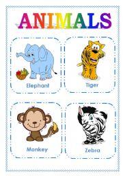 English Worksheet: ANIMALS FLASHCARDS (PART ONE)