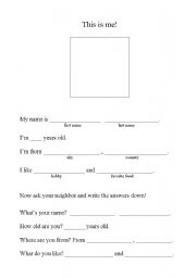 English Worksheets: This is me!