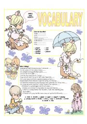 English Worksheet: RECYCLING VOCABULARY - TOPIC: BIRDS AND INSECTS. Elementary and up.