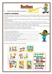 English Worksheets: Routines (02.08.09)
