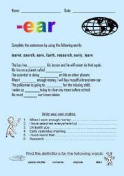 English worksheet: -ear words