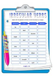 English Worksheet: IRREGULAR VERBS 1/3 (3 PAGES)
