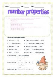 English worksheets: number properties