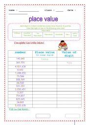 Value &amp- Place Value Worksheets