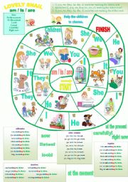 English Worksheet: LOVELY SNAIL   AM - IS - ARE (PRESENT CONT)