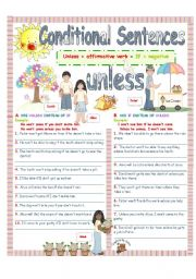 English Worksheet: UNLESS (Conditional sentences)2/4