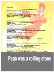 English worksheet: Papa was a rolling stone and you an expert in irregular past tenses