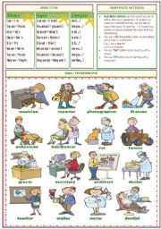 English Worksheet: VERB TO BE / JOBS  / INDEFINITE ARTICLES