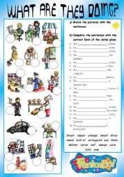 English Worksheets: PRESENT PROGRESSIVE: OCCUPATIONS