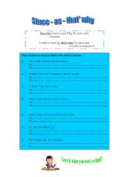 English Worksheets: Since - as - that�s why