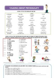 PERSONALITY - VOCABULARY, EXERCISES AND WRITING TASK