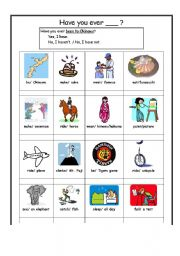 English Worksheets: Have you ever?