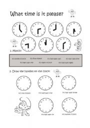 English Worksheets: the time - clock hours & half hours