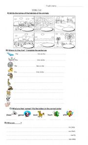 English Worksheet: animals habitats