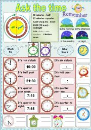 English Worksheets: Ask the time