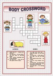 English Worksheet: BODY -CROSSWORD