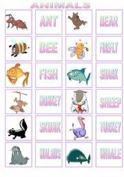 English Worksheets: ANIMALS MEMORY GAME. PART 1