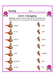 Contractions worksheets for grade 2