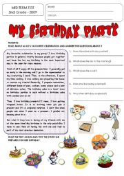 English Worksheet: MID-TERM TEST: CELEBRATIONS